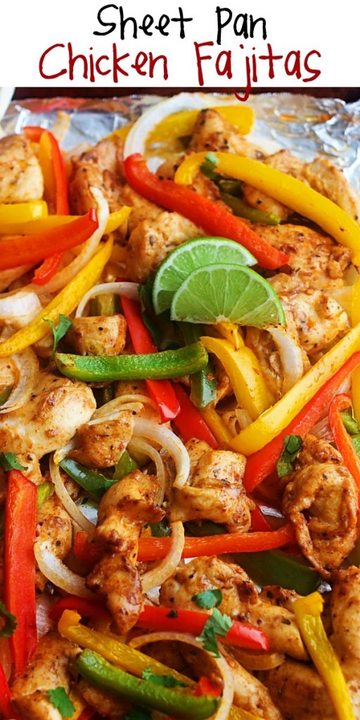Sheet Pan Chicken Fajitas are pieces of chicken, peppers and onions full of southwest flavor. Life-in-the-Lofthouse.com