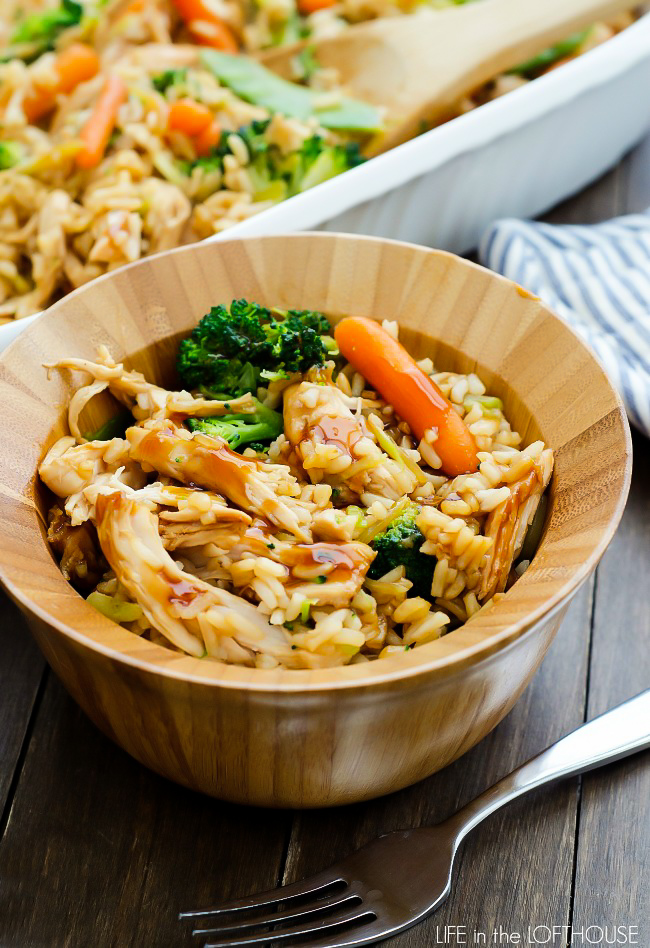 Teriyaki Chicken Casserole is full of savory chicken, rice and vegetables all covered in teriyaki sauce. Life-in-the-Lofthouse.com