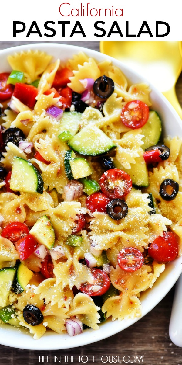 California Pasta Salad is a delicious pasta salad filled with fresh vegetables, Italian dressing and parmesan cheese. Life-in-the-Lofthouse.com