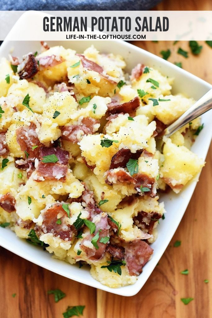 German Potato Salad is potatoes coated in adelicious andtangydressing made of bacon, vinegar and Dijon mustard. Life-in-the-Lofthouse.com