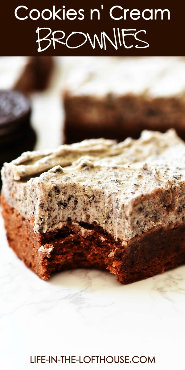 Cookies and Cream Brownies are chocolate fudge brownies slathered with a creamy Oreo frosting. Life-in-the-Lofthouse.com