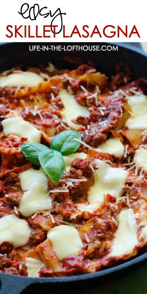 Easy Skillet Lasagna is a delicious lasagna made in just one skillet with ricotta and mozzarella cheese and fresh basil. Life-in-the-Lofthouse.com