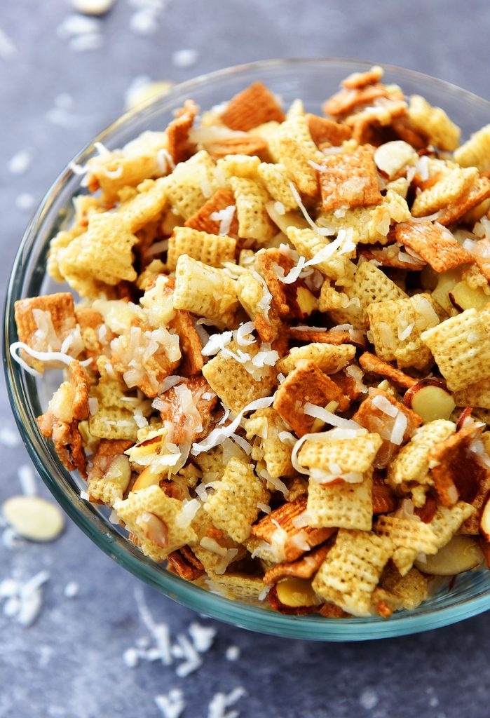 Gooey Chex Mix is a sweet and salty snack with coconut and almonds. Life-in-the-Lofthouse.com