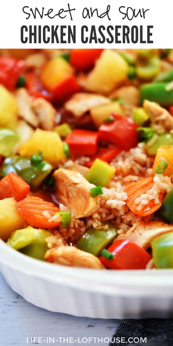 Sweet and Sour Chicken Casserole is filled with chicken, rice and veggies all coated in sweet and sour sauce. Life-in-the-Lofthouse.com