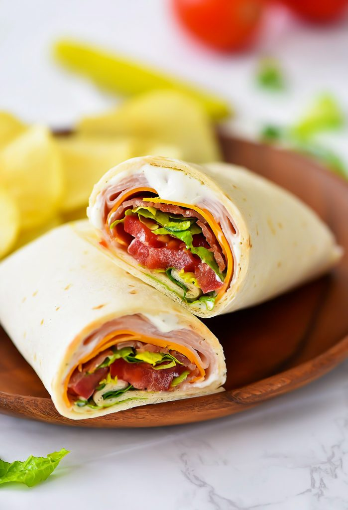 Turkey Ranch Club Wraps are filled with turkey and bacon with ranch dressing. Life-in-the-Lofthouse.com