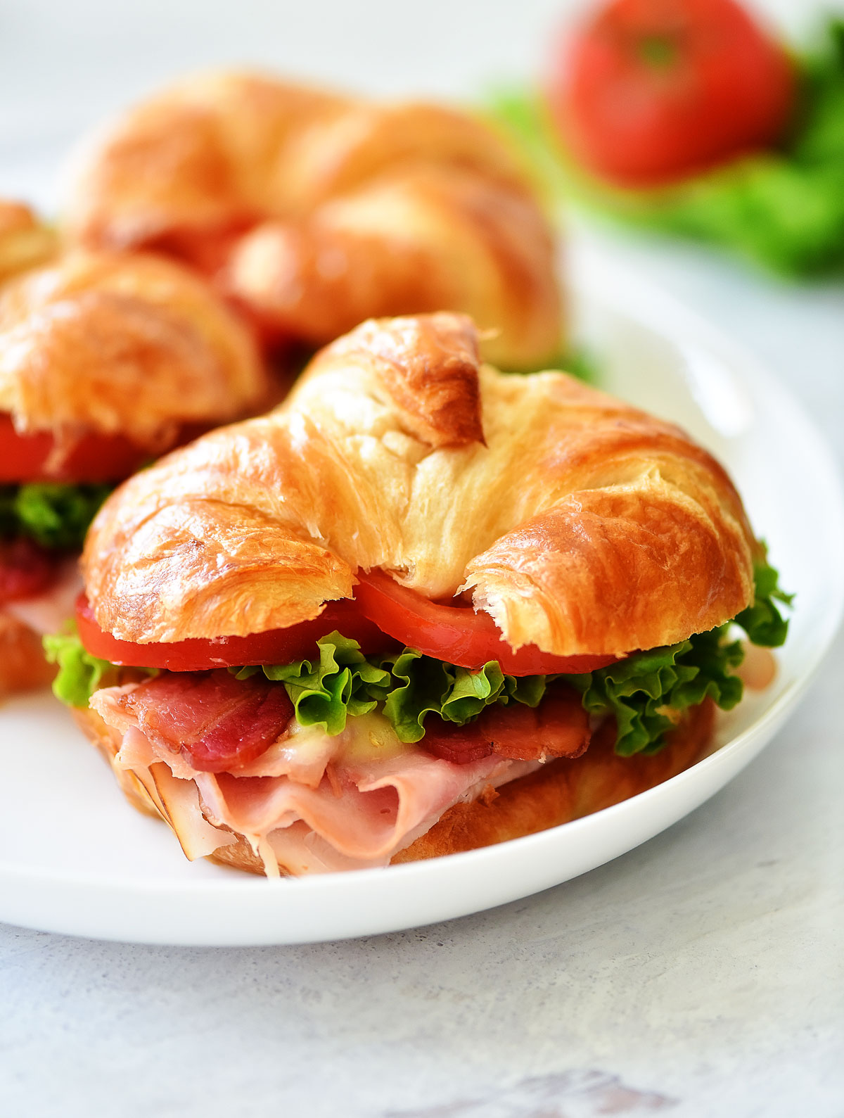 Club Croissant Sandwiches are croissants filled with turkey, ham and cheese. Life-in-the-Lofthouse.com