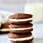 Homemade Oreo Cookies are soft and delicious chocolate cookies with a sweet cream cheese filling!