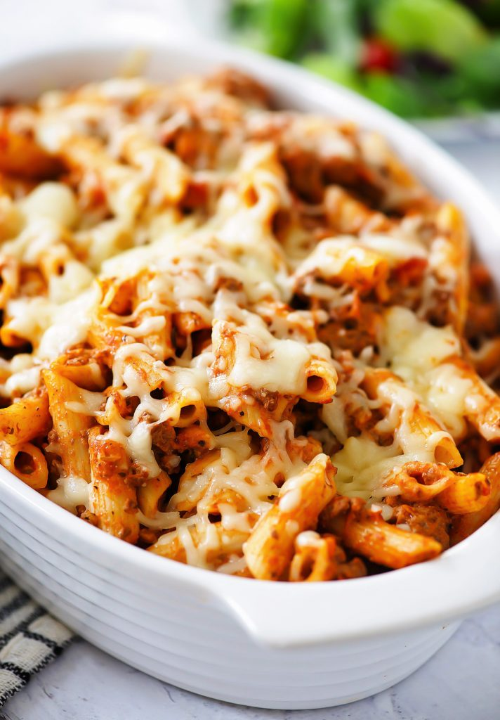 Baked Penne is a classic Italian-American dish with penne pasta baked in spaghetti sauce, cream cheese and Mozzarella cheese. Life-in-the-Lofthouse.com