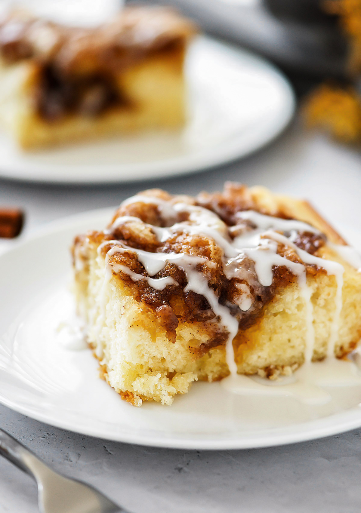 Cinnamon Roll Cake is a moist and buttery cinnamon cake with a creamy vanilla glaze drizzled over the top. Life-in-the-Lofthouse.com