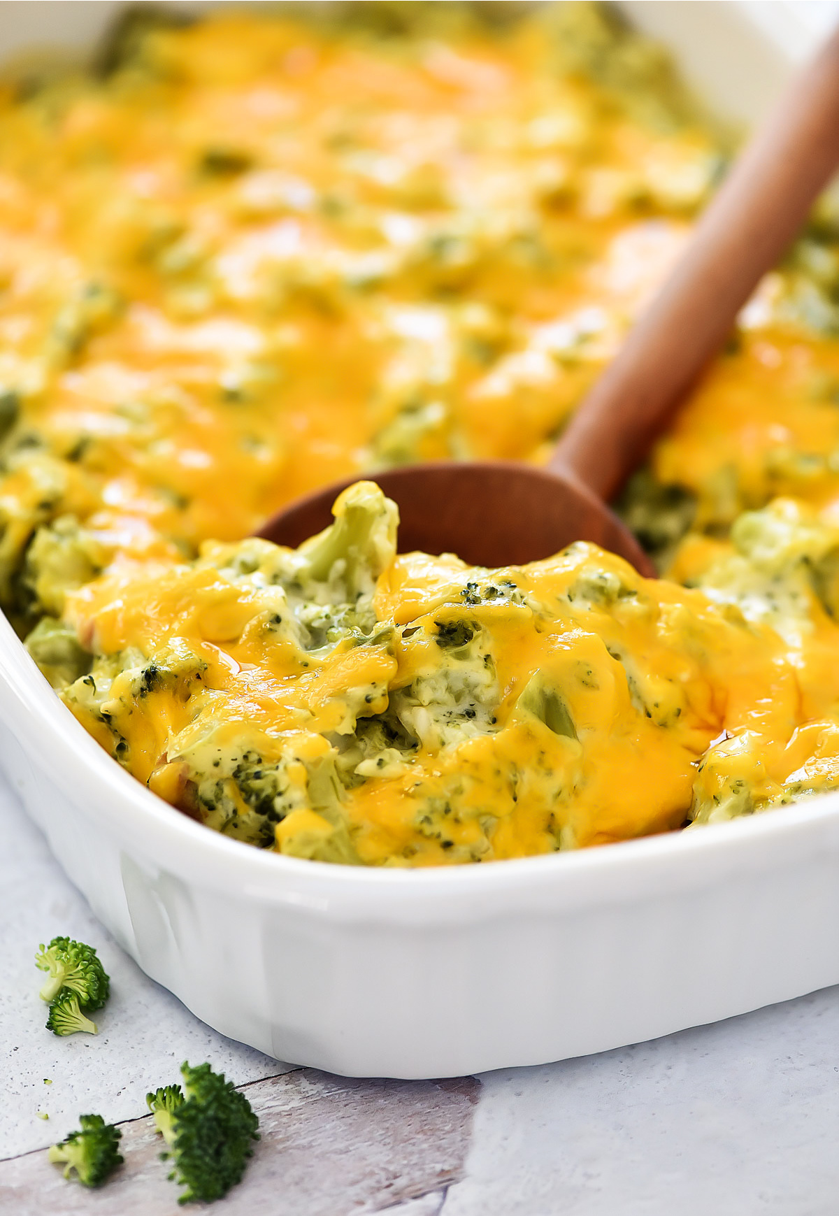 Cheddar cheese, broccoli florets, and homemade condensed cream of chicken soup all come together to create this creamy Broccoli Cheese Casserole.