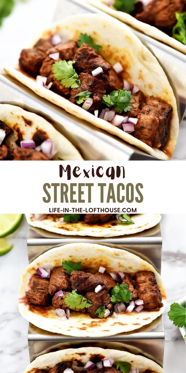Mexican Street Tacos are filled with carne asada, cilantro and red onion served in corn or flour tortillas. Life-in-the-Lofthouse.com