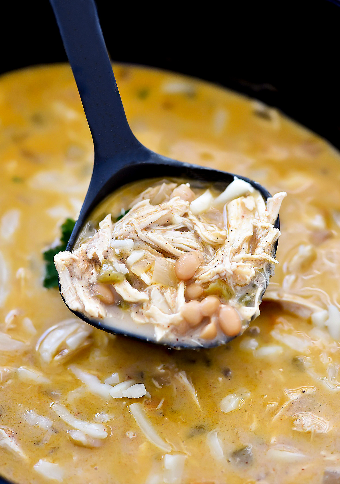 Chicken chili with green chilies and white beans in a creamy chicken broth. Life-in-the-Lofthouse.com