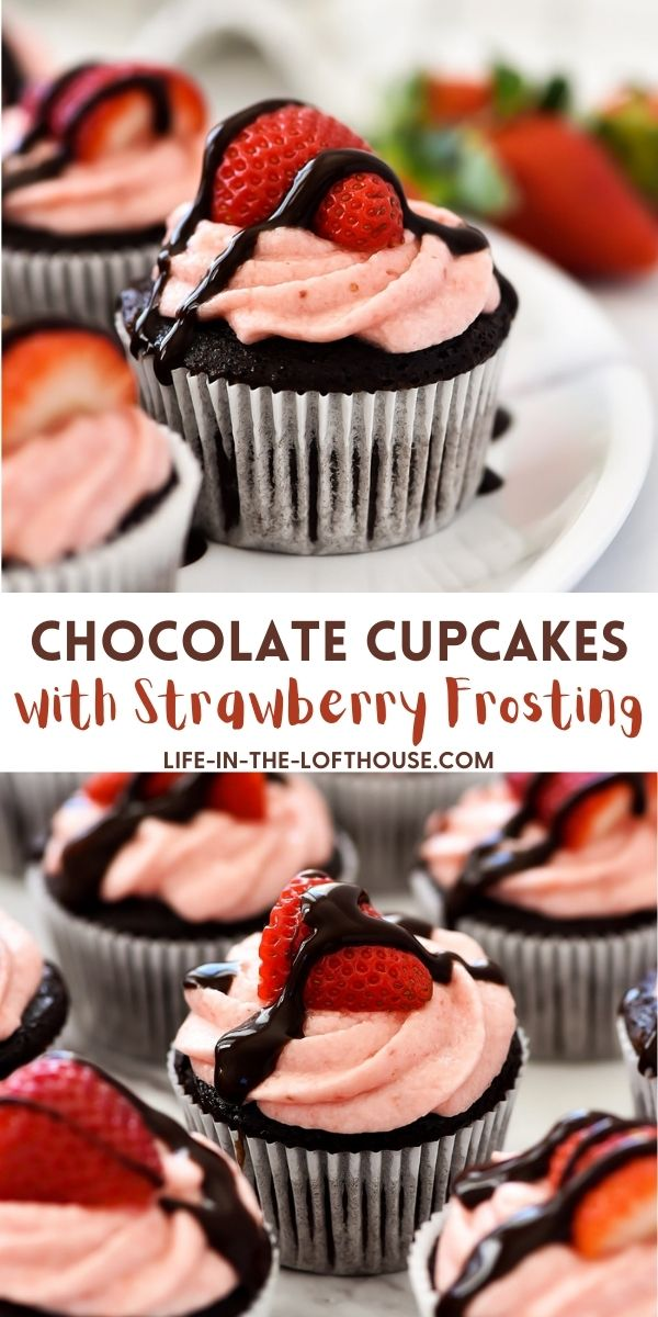 Chocolate Cupcakes topped with fresh strawberry frosting. Life-in-the-Lofthouse.com