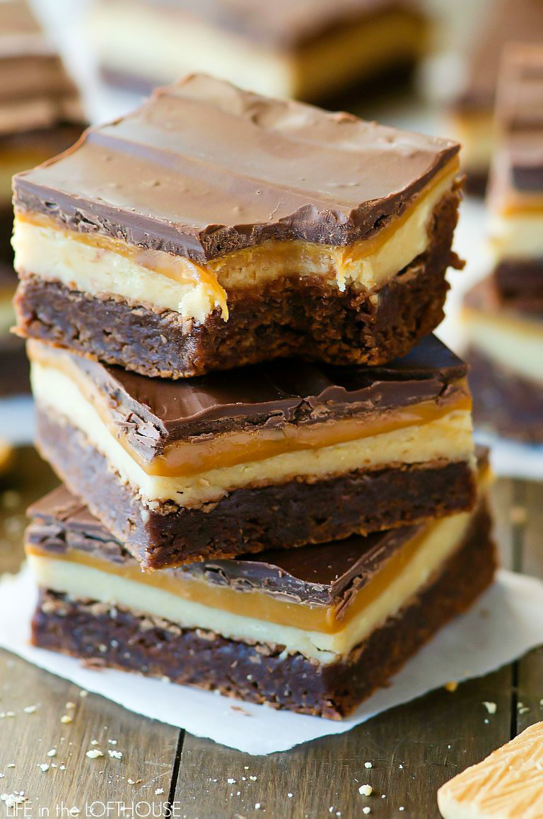 Chocolate brownies with a layer of caramel and cookie, just like the Twix candy bar.