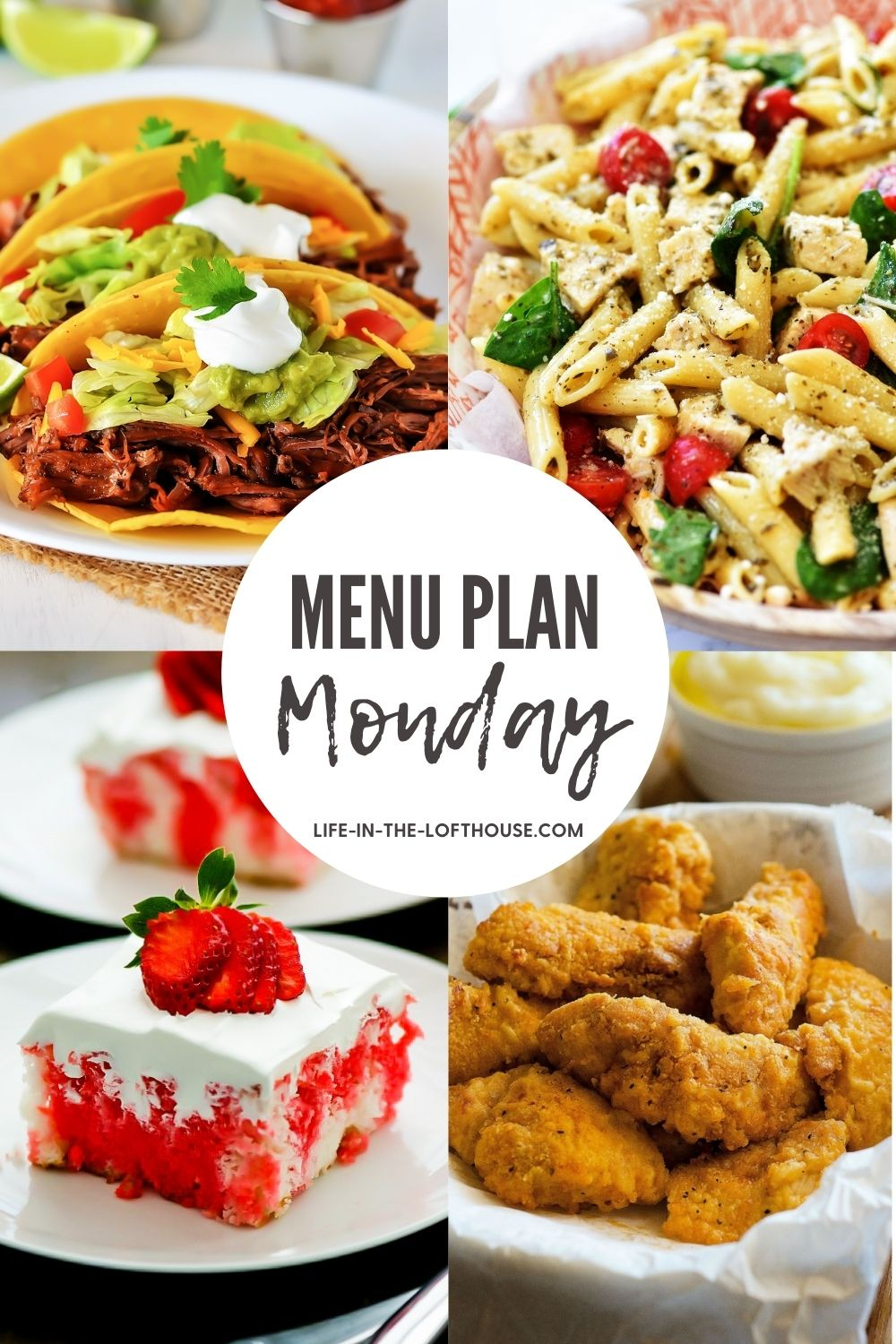 Menu Plan Monday is a dinner menu with six dinner recipes and one dessert.