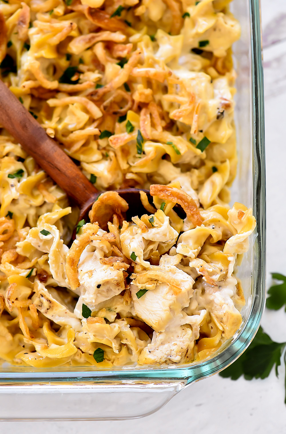 Chicken casserole with creamy chicken soup, crispy fried onions and parsley. Life-in-the-Lofthouse.com