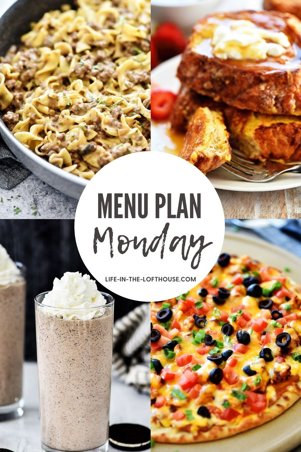 Menu Plan Monday is a list of recipes with six dinner ideas and one dessert.