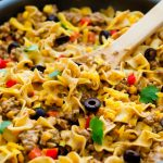 A delicious skillet dinner loaded with taco flavored beef and comforting noodles.