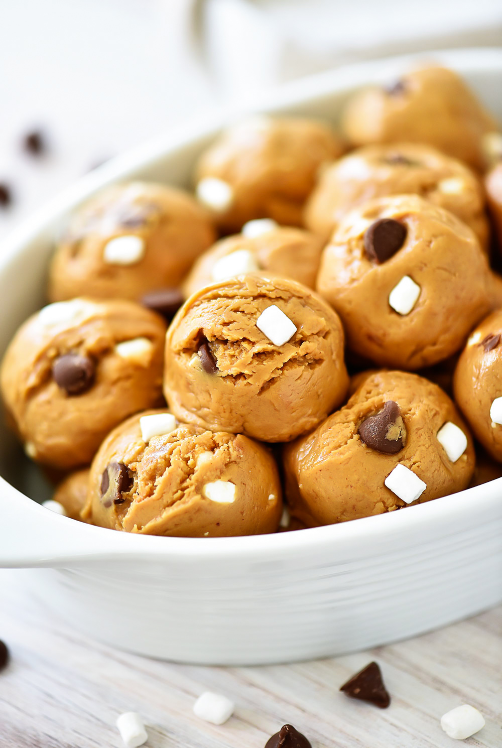 No-Bake protein bites filled with peanut butter, chocolate, graham cracker and marshmallow. Life-in-the-Lofthouse.com
