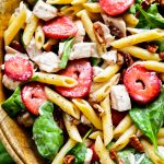 Strawberry Chicken and Spinach Pasta Salad is packed with flavor from grilled chicken, strawberries, spinach and poppy seed dressing. Life-in-the-Lofthouse.com